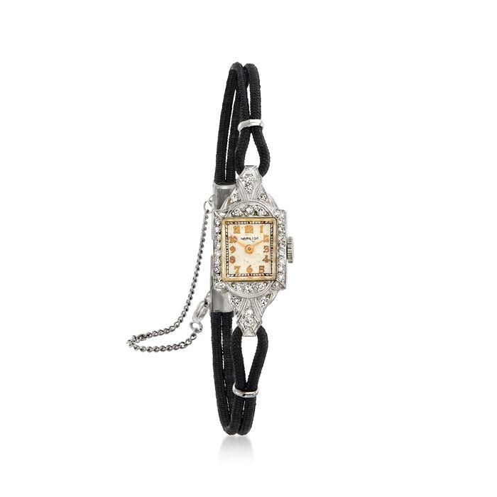C. 1940 Vintage Womens .45 ct. t.w. Diamond 13mm Mechanical Watch in Platinum. Size 7.5, , default