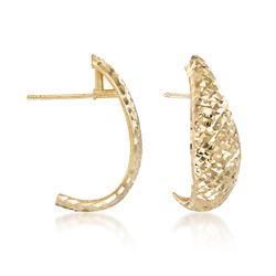 "Italian 18kt Yellow Gold Diamond-Cut Half-Hoop Earrings. 3/4"", , default"