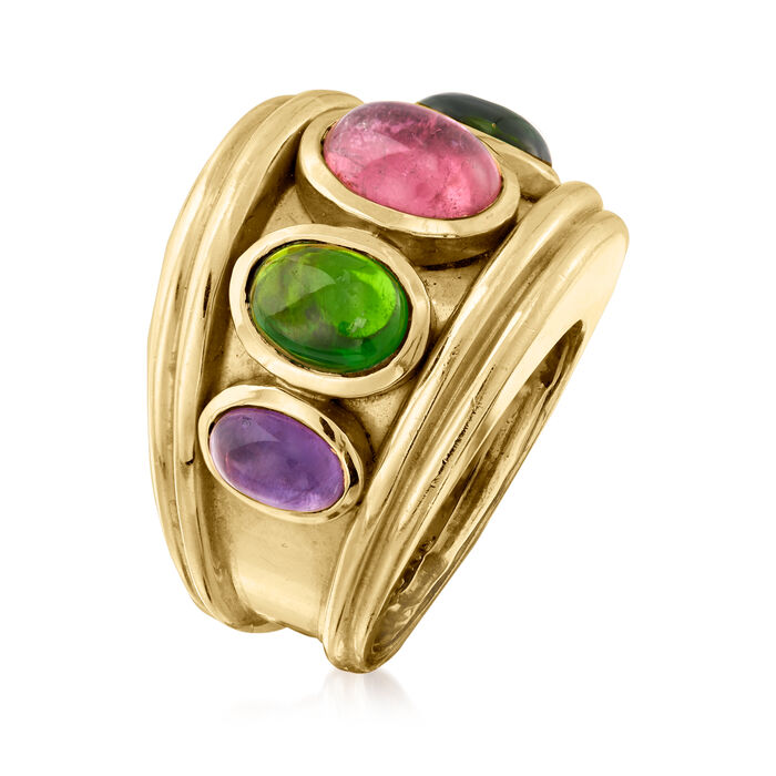 C. 1980 Vintage 4.90 ct. t.w. Multicolored Tourmaline and 1.70 ct. t.w. Amethyst Ring in 14kt Yellow Gold