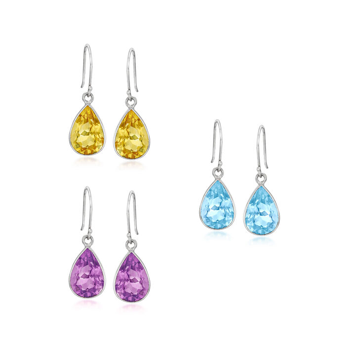 16.50 ct. t.w. Gemstone Jewelry Set: Three Pairs of Drop Earrings in Sterling Silver