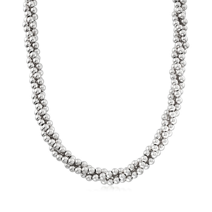 Italian Sterling Silver Twisted Bead Necklace, , default