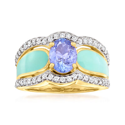 1.50 Carat Tanzanite and .60 ct. t.w. White Zircon Ring with Blue Enamel in 18kt Gold Over Sterling