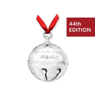 Reed and Barton 2019 Annual Silver Plate Holly Bell Ornament - 44th Edition, , default