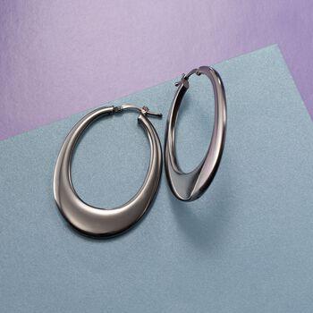 """Italian Gunmetal Sterling Silver Elongated Hoop Earrings. 1 3/4"""", , default"""
