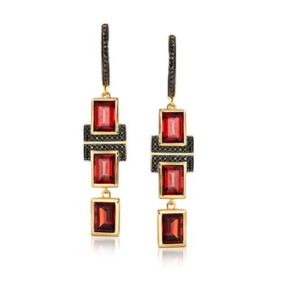 6.50 ct. t.w. Garnet and .20 ct. t.w. Black Spinel Drop Earrings in 18kt Gold Over Sterling, , default