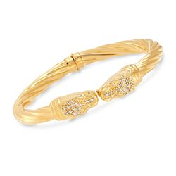 Italian .50 ct. t.w. CZ Double Panther Head Cuff Bracelet in 18kt Gold Over Sterling, , default