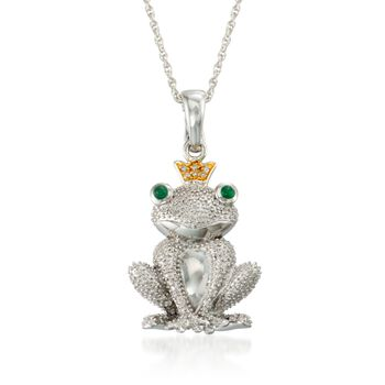 ".20 ct. t.w. Diamond and Emerald Frog Prince Pendant Necklace in Two-Tone. 18"", , default"