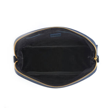 Royce Blue Leather Cosmetic Bag, , default