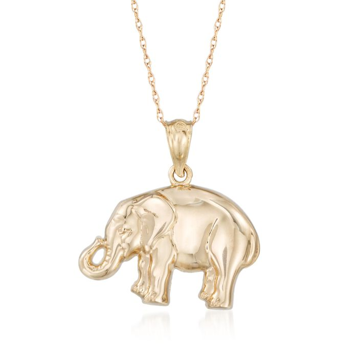 14kt Yellow Gold Elephant Pendant Necklace