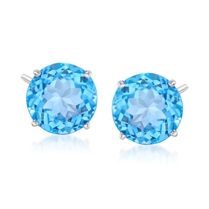 8.50 ct. t.w. Blue Topaz Stud Earrings in 14kt White Gold
