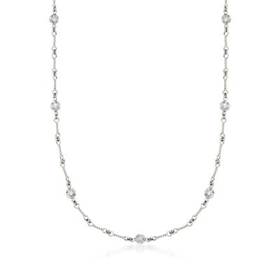 Roberto Coin .28 ct. t.w. Diamond Twist Link Necklace in 18kt White Gold, , default