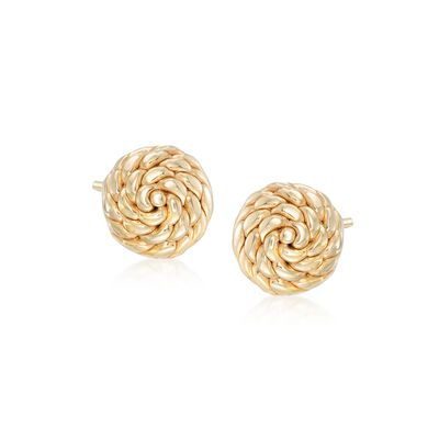 Italian 14kt Yellow Gold Roped Knot Stud Earrings, , default