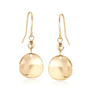 14kt Yellow Gold Curved Disc Drop Earrings, , default