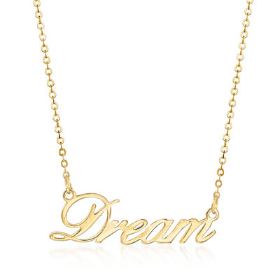 "Italian 14kt Yellow Gold ""Dream"" Necklace, , default"