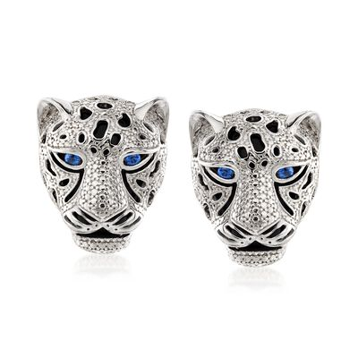 Black Onyx and .10 ct. t.w. Sapphire Panther Head Earrings in Sterling Silver, , default