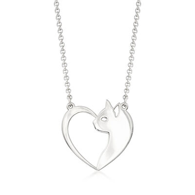 Sterling Silver Cat and Heart Necklace, , default
