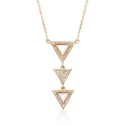 4.5-5.5mm Mother-Of-Pearl and .21 ct. t.w. Diamond Triple Triangle Drop Necklace in 14kt Yellow Gold, , default