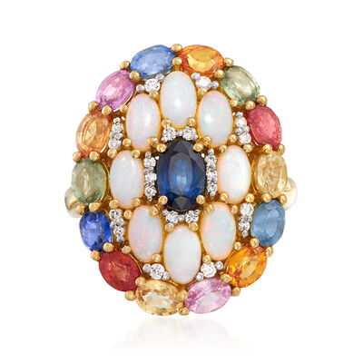 5x3mm Opal, 4.30 ct. t.w. Sapphire and .14 ct. t.w. Diamond Ring in 18kt Yellow Gold, , default