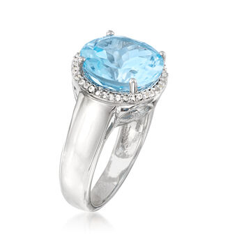 6.30 Carat Sky Blue Topaz and .10 ct. t.w. White Topaz Ring in Sterling Silver