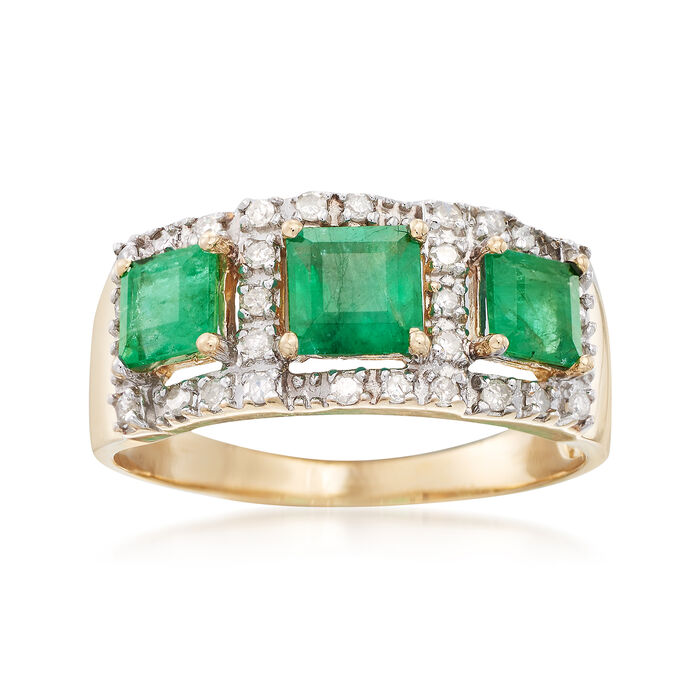 1.40 ct. t.w. Emerald and .25 ct. t.w. Diamond Ring in 14kt Yellow Gold