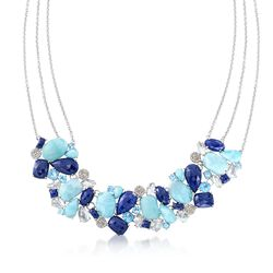 Blue and White Multi-Stone Necklace With 1.00 ct. t.w. Diamonds in Sterling Silver, , default