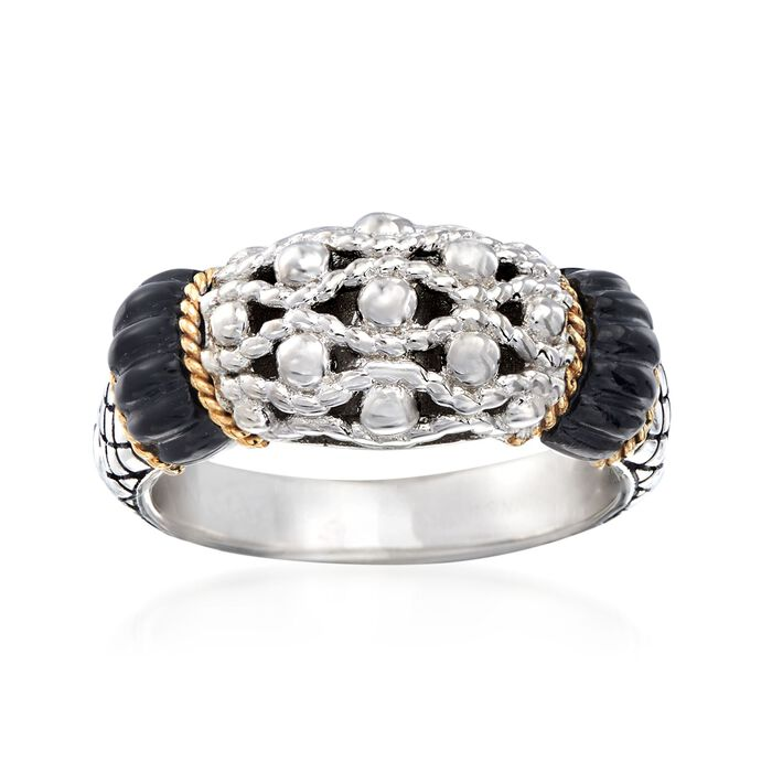 "Andrea Candela ""La Corona"" Black Onyx Ring in 18kt Yellow Gold and Sterling Silver. Size 7, , default"