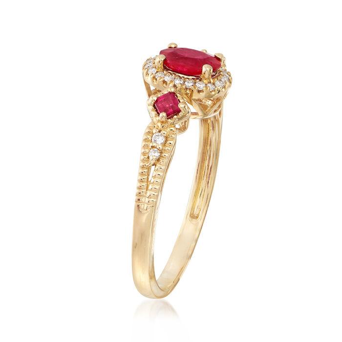 .60 ct. t.w. Ruby and .11 ct. t.w. Diamond Halo Ring in 14kt Yellow Gold