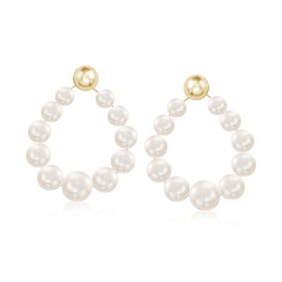 Graduated 6-9.5mm Cultured Pearl Teardrop Earrings in 14kt Yellow Gold, , default