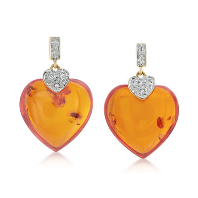 Amber and Diamond-Accented Heart Drop Earrings in 14kt Yellow Gold, , default