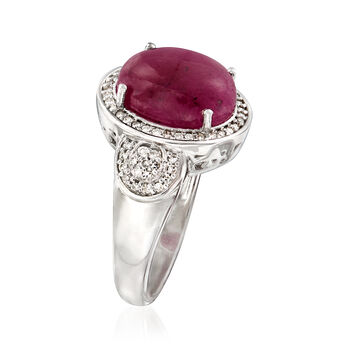 7.00 Carat Ruby and .36 ct. t.w. Diamond Ring in Sterling Silver, , default