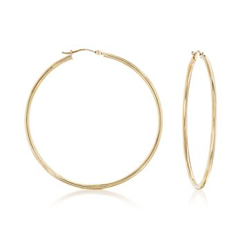 "1.5mm 14kt Yellow Gold Large Hoop Earrings. 2"", , default"