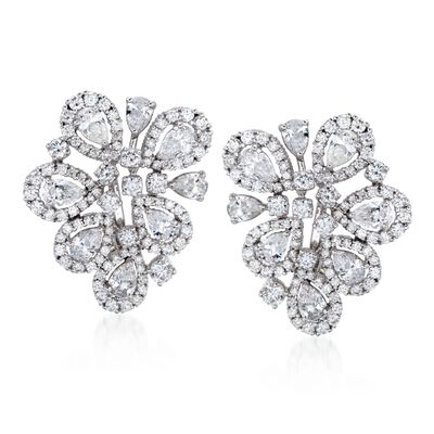 6.70 ct. t.w. Diamond Free-Form Floral Earrings in 18kt White Gold, , default