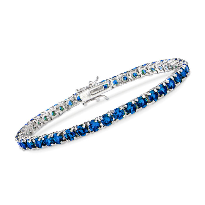 Simulated Sapphire Tennis Bracelet in Sterling Silver, , default