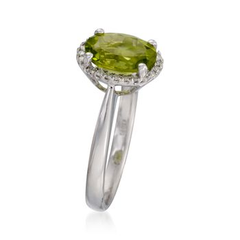 1.80 Carat Peridot Ring with Diamonds in 14kt White Gold, , default