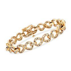 C. 1990 Vintage 3.00 ct. t.w. Diamond Infinity Bracelet in 14kt Yellow Gold, , default