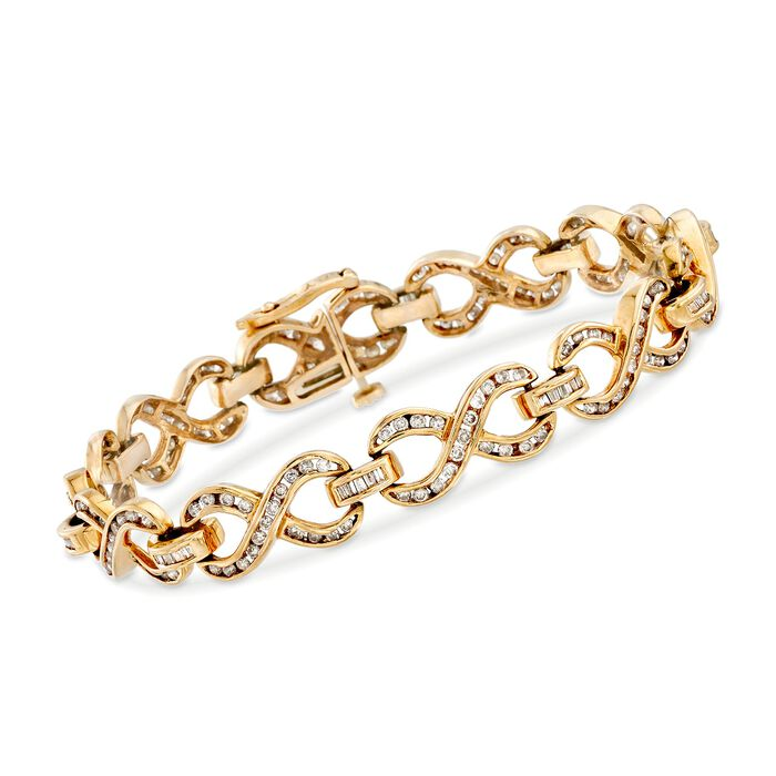 "C. 1990 Vintage 3.00 ct. t.w. Diamond Infinity Bracelet in 14kt Yellow Gold. 7.25"", , default"
