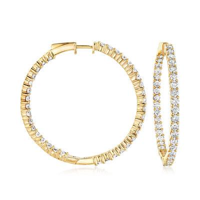 5.00 ct. t.w. Diamond Inside-Outside Hoop Earrings in 18kt Gold Over Sterling, , default