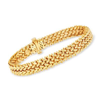 Italian 18kt Yellow Gold Tessere Link Bracelet, , default