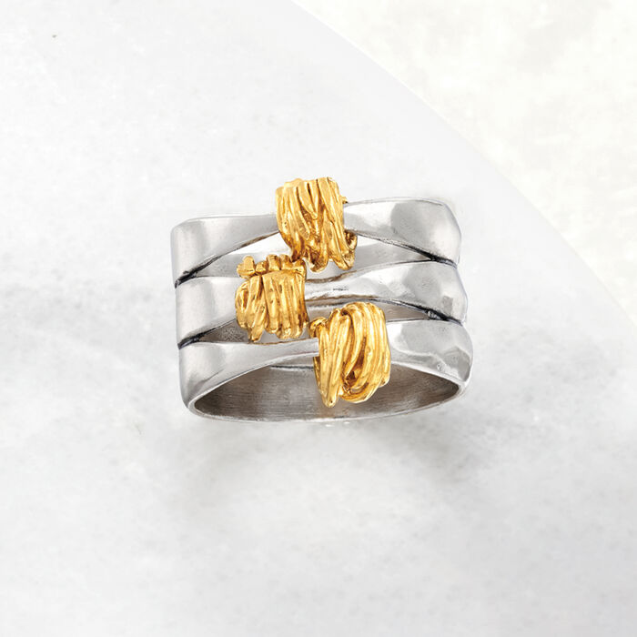 Two-Tone Sterling Silver Wrapped Station Ring