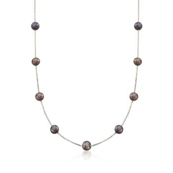 6-6.5mm Black Cultured Pearl Station Necklace in Sterling Silver, , default