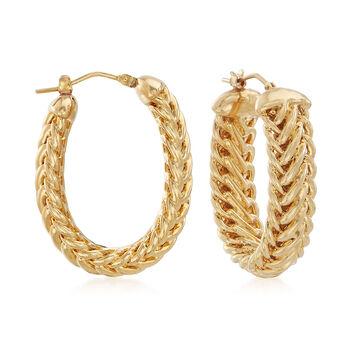 """Italian Andiamo 14kt Yellow Gold Oval Hoop Earrings. 1 1/4"""", , default"""