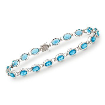 "10.50 ct. t.w. Blue Topaz Line Bracelet in 14kt White Gold. 7"", , default"