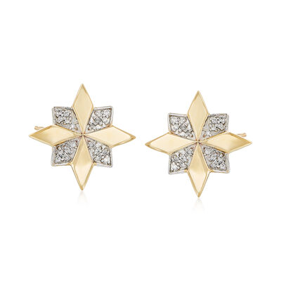 .12 ct. t.w. Pave Diamond Flower Earrings in 14kt Yellow Gold with White Rhodium