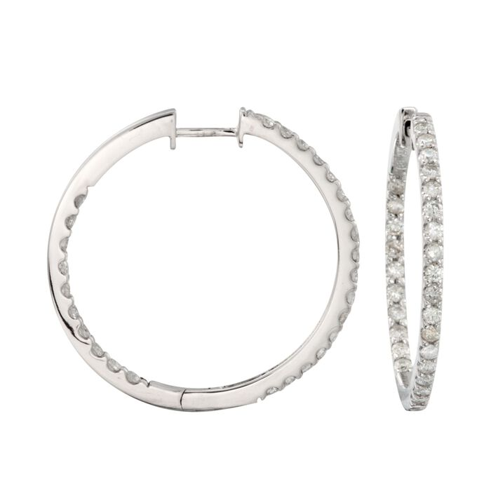 1.50 ct. t.w. Diamond Inside-Outside Hoop Earrings in 14kt White Gold. 1 1/8""