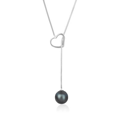 9-10mm Black Cultured Tahitian Pearl Heart Lariat Necklace in Sterling Sivler