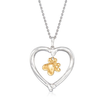 Two-Tone Heart and Paw Pendant Necklace in Sterling Silver with 14kt Yellow Gold