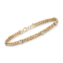 14kt Yellow Gold Wheat Chain Station Bracelet With Diamond Accents, , default