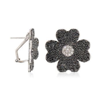 4.67 ct. t.w. Black and White Diamond Flower Earrings in 18kt White Gold