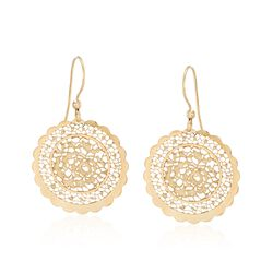 Italian 18kt Yellow Gold Floral Openwork Circle Drop Earrings, , default
