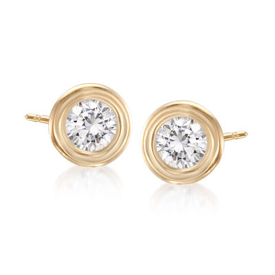 .50 ct. t.w. Double Bezel-Set Diamond Earrings in 14kt Yellow Gold, , default